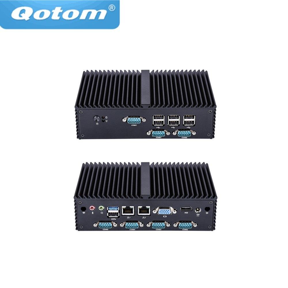 Qotom mini PC Qotom Q190X 7 RS232 dual Lan 8 USB celeron J1900 quad core Fanless