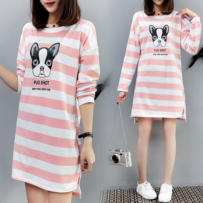 9184 Spring 2018 new maternity striped print puppy t-shirt dress striped print ringer t shirt