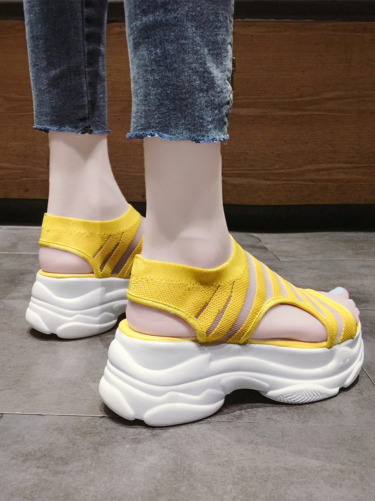 Elastic Belt Sports Sandals Summer New Women's Shoes Women's Thick Bottom Fish Mouth Mesh Sandals Stretch Fabric Beach shoes 33