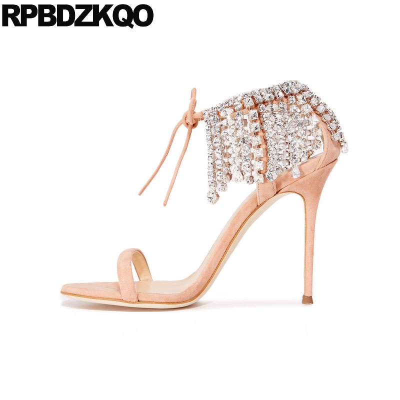 High Heels Wedding Pink Stiletto Rhinestone Ankle Strap Crystal Lace Up Designer Shoes Women Luxury 2018 Diamond Sandals Pumps new pink red rhinestone diamond bride s shoes super high heels crystal bowl wedding shoes elegant sandals female pumps feminina