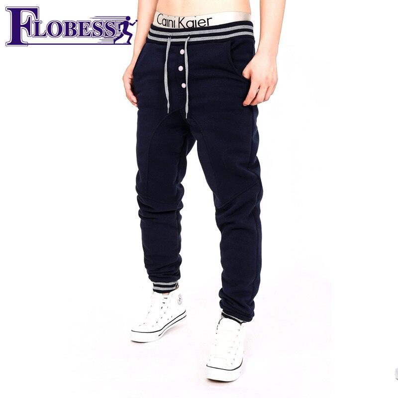 FLOBESS 2018 Men Autumn Winter Leisure Jogger Sports Running Pants Mens Slim Leggings Workout Training Sweatpants Plus Velvet