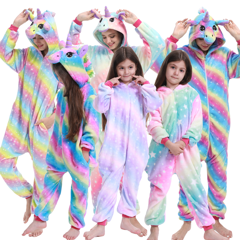 Kigurumi Kids Unicorn Pajamas Adults Stitch Animal Onesies Winter Sleepwear Women Flannel Nightwear Girls Boys Cosplay Costumes
