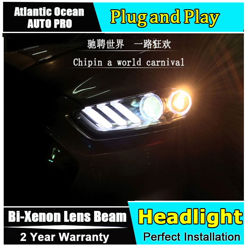 Car Styling 2013 2016 for Ford Mondeo Fusion Headlights Mustang style LED Headlight DRL Lens Double