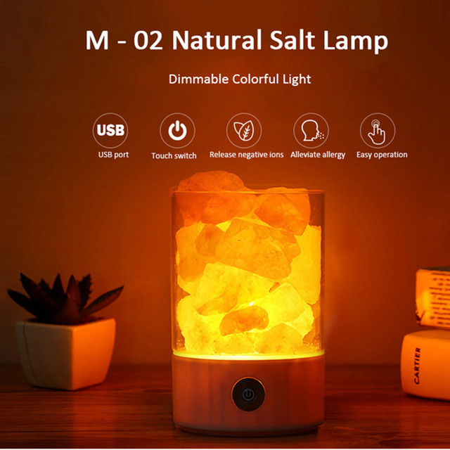 Natural Salt Rock Crystal Lamp Health Colorful Touch LED Atmosphere Lights Purify Night Lights For Home Office Creative Lighting