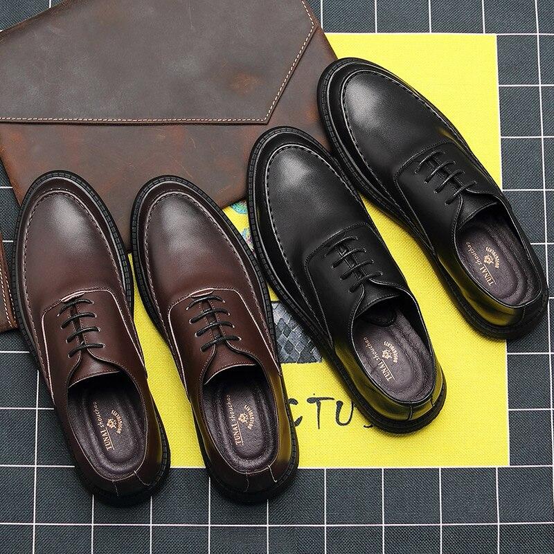 Zapatos negros de verano versión coreana de la tendencia de los zapatos de negocios casuales de los hombres zapatos pequeños de la sociedad Retro británica los hombres de verano - 5