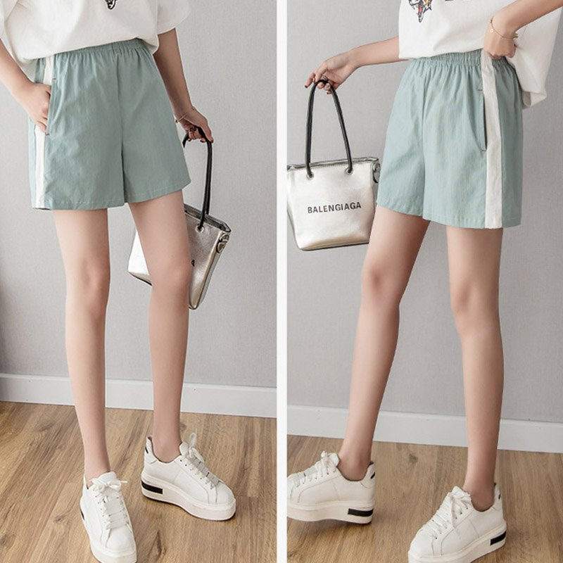 Summer Women Casual Shorts Beach High Waist Fashion Tightness Shorts All-match Concise Solid Color Elastic Loose Thin Shorts!