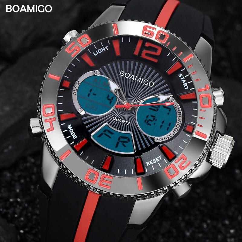 Men Sports Watches Military Digital Watch BOAMIGO Brand Quartz Watch Fashion Rubber Band Wristwatch 30M Waterproof Reloj Hombre alike a1278 waterproof digital quartz sport wristwatch timepiece with rubber band for men blue