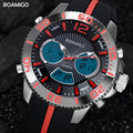 men sport watches military digital watch dual display quartz watch BOAMIGO brand fashion rubber strap wristwatch 30M waterproof
