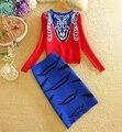 Moda Otoño Invierno de Manga Larga Beijing Facebook Diseño Suéter Top + Cintura Alta Falda Del Lápiz de Maquillaje 2 Unidades Establece Chándal 1202