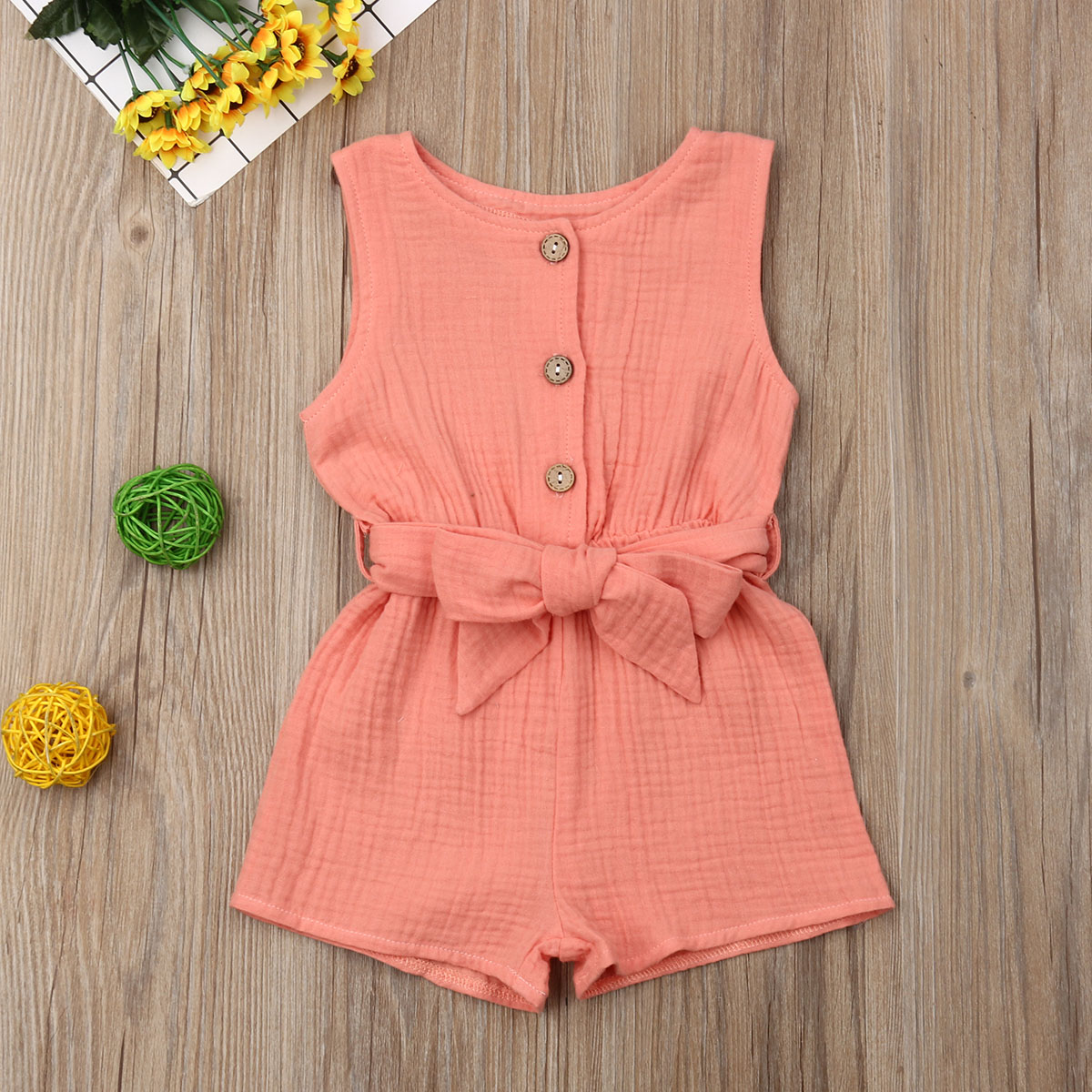 Pudcoco Summer Newborn Baby Girl Clothes Sleeveless Solid Color Cotton Bowknot Button   Romper   Jumpsuit One-Piece Outfit Summer