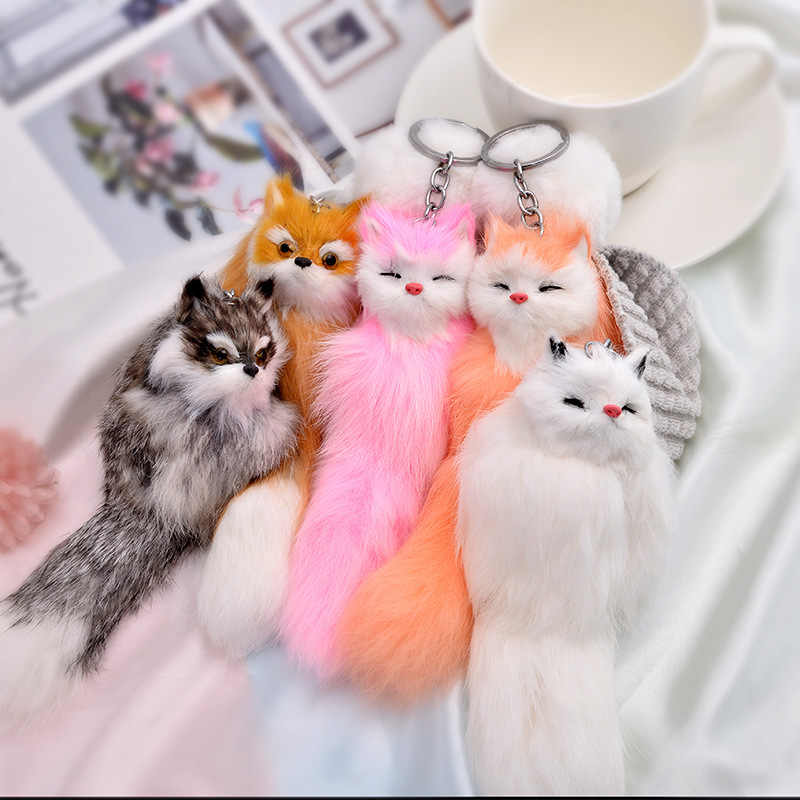 Plush Little Fox Charm Keychains Hi-Q Super Cute Stuffed Animal Trinket Silver Color Key Chains Ring Jewelry For Women Girls
