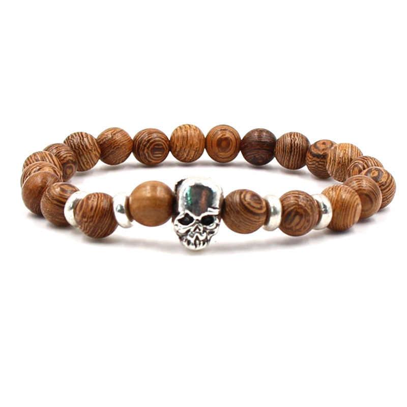 Очаровательный натуральный камень браслет набор Серебряный Череп браслет для мужчин и женщин Аксессуары Эластичный браслет оптовая продажа