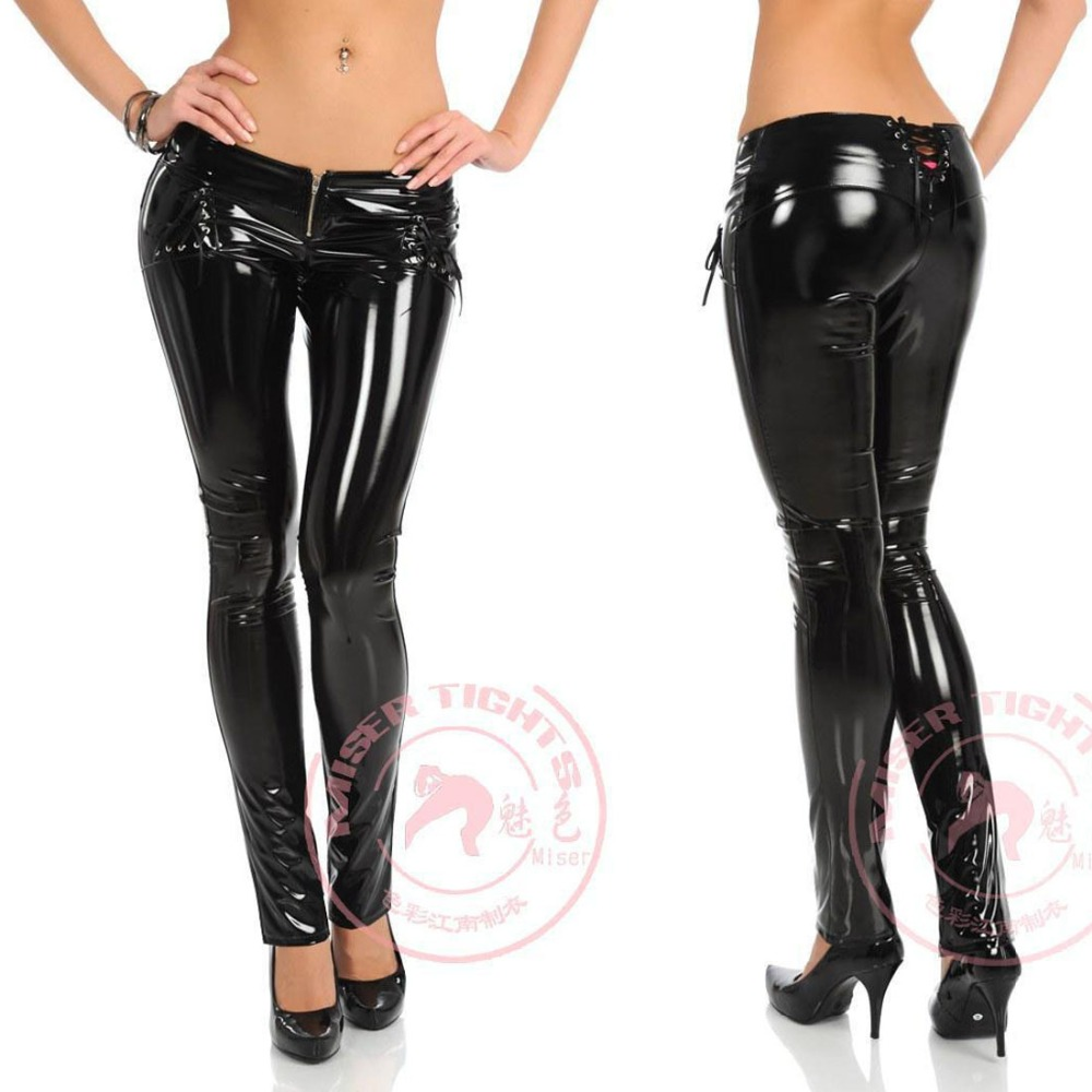 Glamorous High Quality Street Sexy Low Waist PVC Blingbling Pencil   Pants   Women Modern Cool Bandage Legging Glazed Leather   Capris