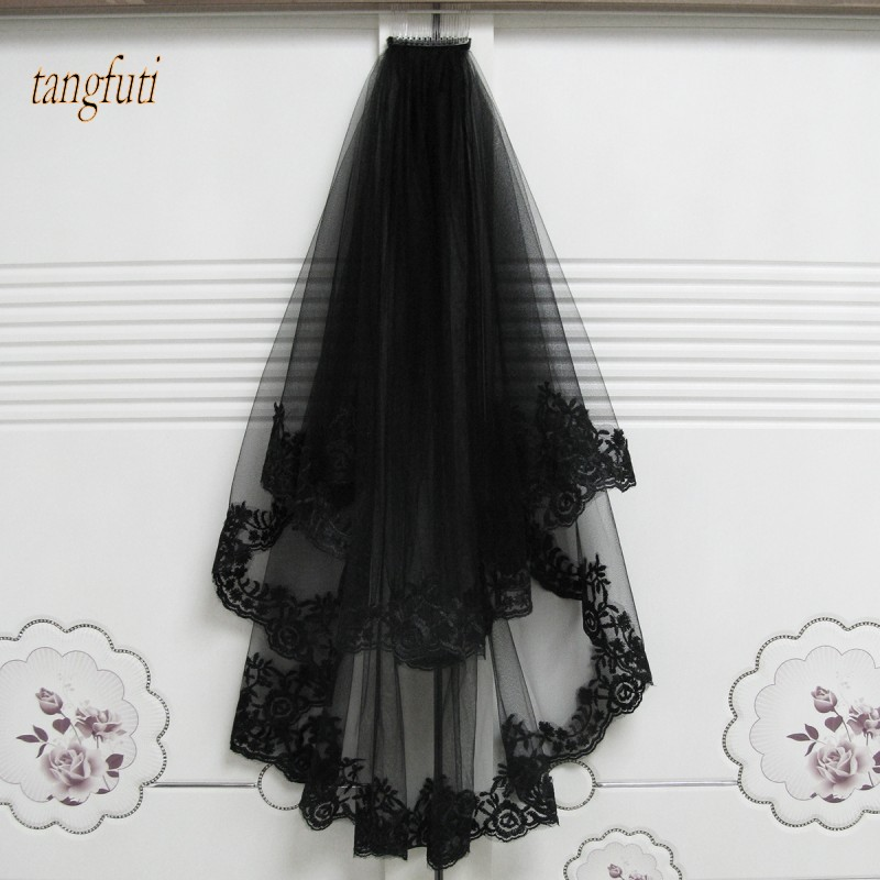 Black Wedding Veils With Comb Lace Two Layers Tulle Short Bridal Veil