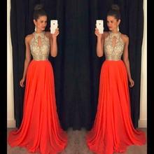 Оранжевые Выпускные платья трапециевидной формы с бретелькой через шею, платье с кристаллами и бисером для выпускного вечера, Vestidos de formatura longo abendkleider