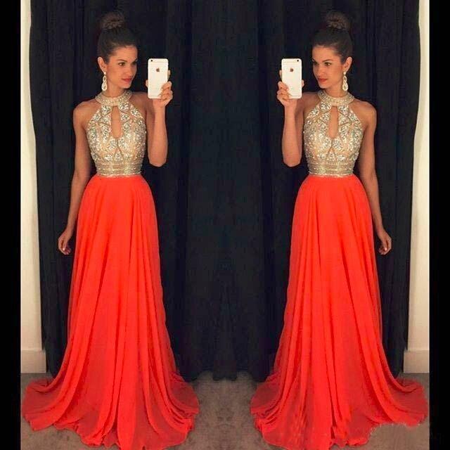 Orange Prom Dresses A Line Halter Top Crystal Beading Dress For Graduation Vestidos De Formatura Longo 2018 Abendkleider