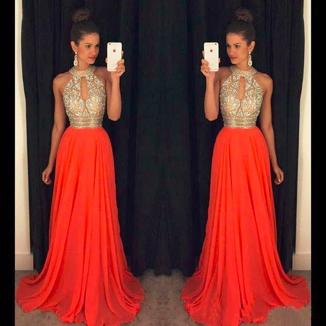 Orange   Prom     Dresses   A Line Halter Top Crystal Beading   Dress   For Graduation Vestidos de formatura longo 2018 abendkleider