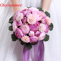 2018 New Bridal Wedding Bouquets 24 Rose Flowers Handmade Flower Bridal Party Gifts Wedding Accessories Flowers with Ribbon