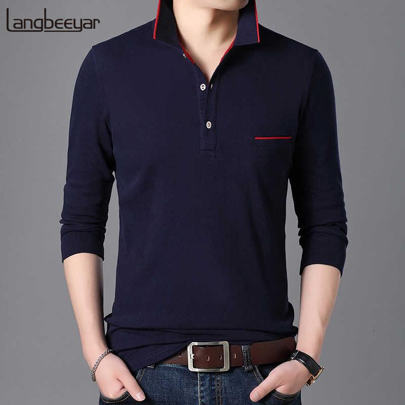 055e047152a 2019 New Fashion Brand Polo Shirt Men Cotton Slim Fit Long Sleeve Korean  Streetwear Collar Shirt