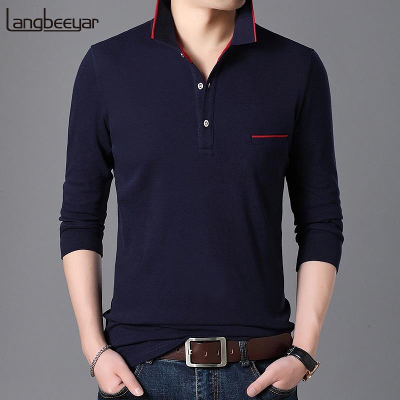 2019 New Fashion Brand Polo Shirt Men Cotton Slim Fit Long Sleeve Korean Streetwear Collar Shirt Boy Polos Casual Men Clothes