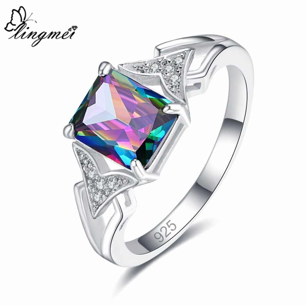 Lingmei סיטונאי יוקרה תכשיטים קשת & ירוק & לבן מעוקב זירקון 925 כסף טבעת גודל 6 7 8 9 מדהים מסיבת מתנה