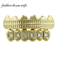 Hiphop Gold Teeth Grillz Bling Top& Bottom Custom Copper Tooth Grillz Dental Cosplay Teeth Caps Rapper Jewelry  NL0074
