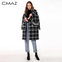 CMAZ 2018 Women New winter clothing thicken woolen jacket female Korean version of the long loose Plaid woolen coat MX18D9682(China)
