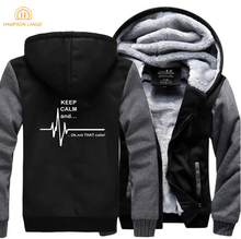Funny Hoodies Men Keep Calm And...Not That Ekg Heart Rate Sweatshirt Mens 2019 Winter Thick Fashion Jackets Zipper Hoodie