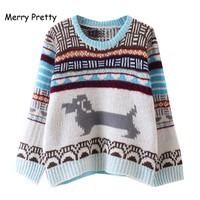 Merry Pretty Autumn Preppy Style Women Sweaters Sweet Cute Dog Knit Pullovers O Neck Sweater Korean