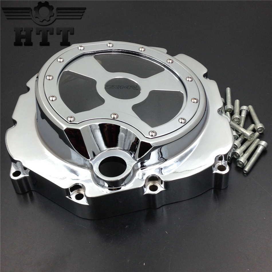 Aftermarket free shipping motorcycle parts Engine Clutch cover see through for Kawasaki  ZX14R ZZR1400 2006-2013 Chrome right aftermarket free shipping motorcycle parts for motorcycle 2006 2007 2008 2009 kawasaki zx14 zx14r zx 14r axle caps covers chrome