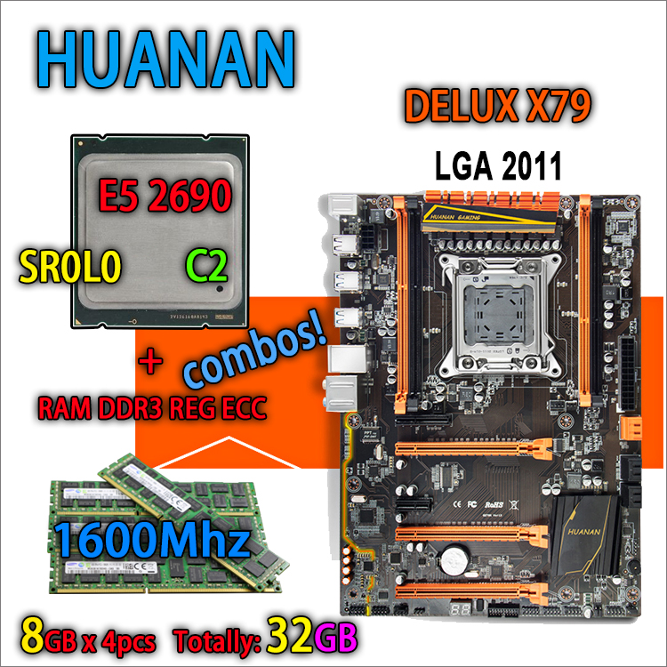 HUANAN d'or version Deluxe X79 gaming carte mère LGA 2011 ATX combos E5 2690 C2 SR0L0 4x8g 1600 mhz 32 gb DDR3 RECC Mémoire