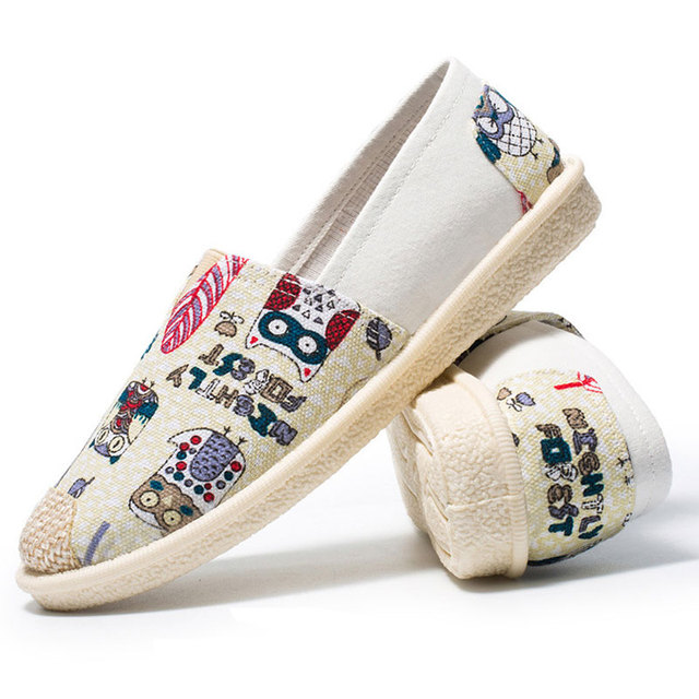 2018 nueva moda Casual impresión Mujer Zapatos pradera lona princesa mujeres usan zapatos zapatillas transpirable zapatos para caminar