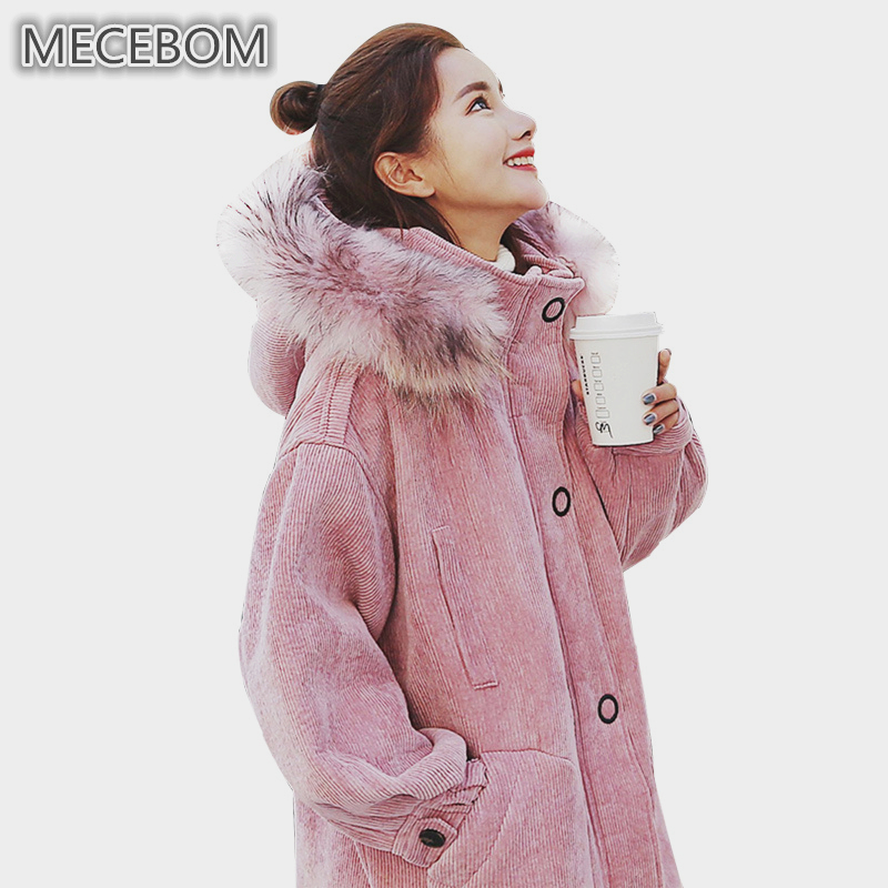 MECEBOM Winter new arrival womens Corduroy parkas cute pink long coats lady hooded Fur Collar parkas Outerwear m65c
