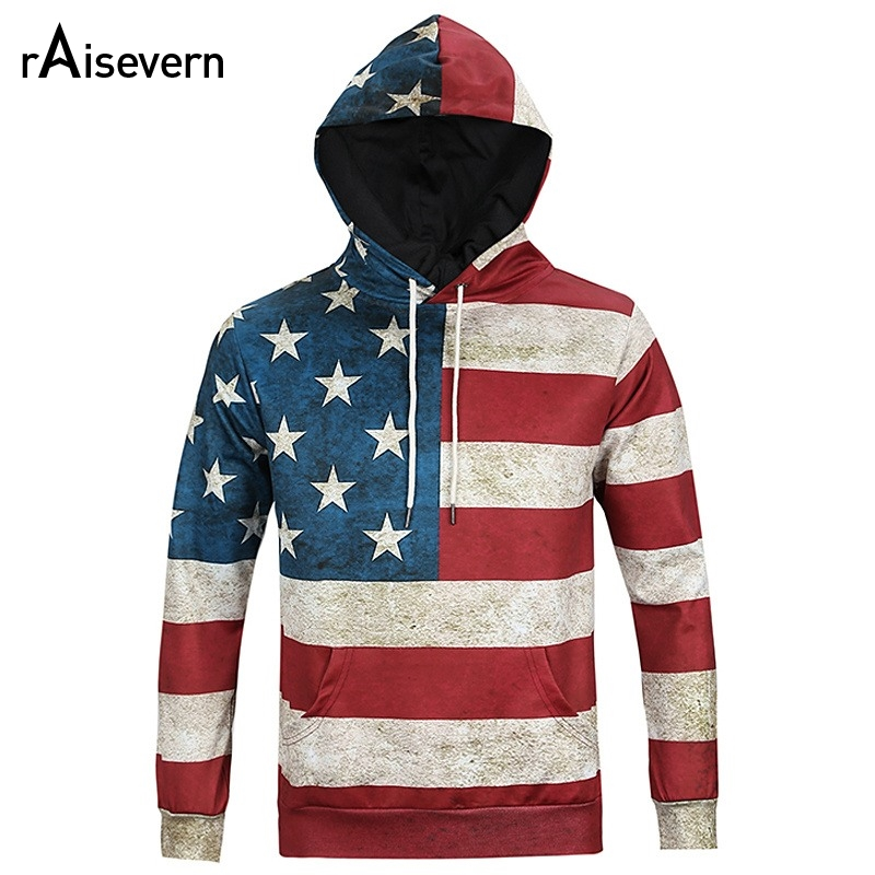 New Fashion North America Style 3D Hoodies Men Women Hooded Sweatshirts USA Flag Stars & ...