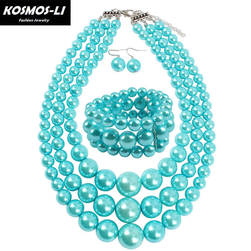 Trendy Fashion Jewelry Luxury Exaggeration Necklace Earring Jewelry Sets For Women Party Pearl Statement Necklaces