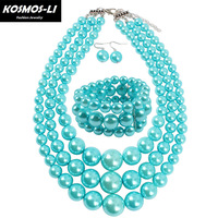 1c1b9a8bedf0 Trendy Fashion Jewelry Luxury Exaggeration Necklace Earring Jewelry Sets  For Women Party Pearl Statement Necklaces