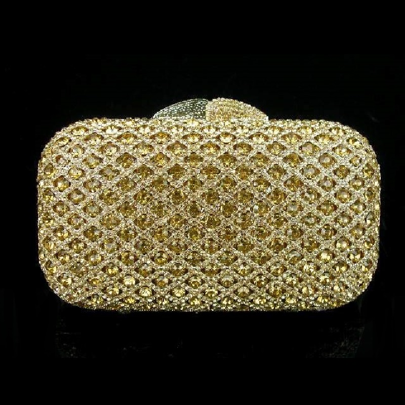 ФОТО A6607 Crystal Lady Fashion Golden Wedding Bridal Party Night Metal Evening purse clutch bag case box handbag