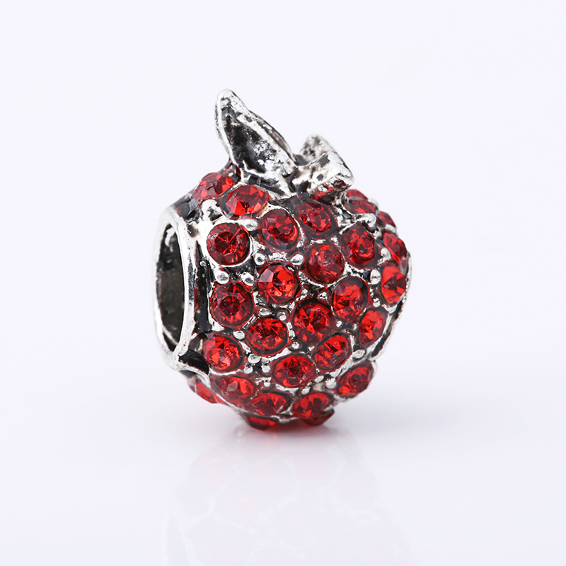 European Crystal Fruit Apple Pineapple Eggplant Leaf Beads Fit Pandora Charm Bracelets Necklace DIY Jewelry free shipping