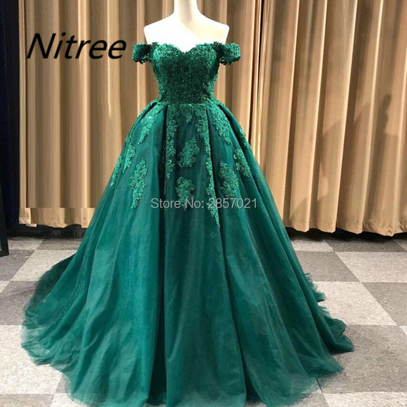 Elegant Ball Gown Real Photo Custom Made Green Vintage Evening Dresses with Appliques Sweetheart Neck Off the Shoulder Prom Gown