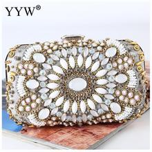 Diamond Beaded Crystal Chain Day Clutches Evening Bags Handmade Clutch Bag Lady Woman Rhinestone Wedding Handbag Purse Elegant xiyuan brand lady ethnic handmade gemstone diamond evening bag dinner clutch purse bridal clutch wedding chain shoulder hand bag
