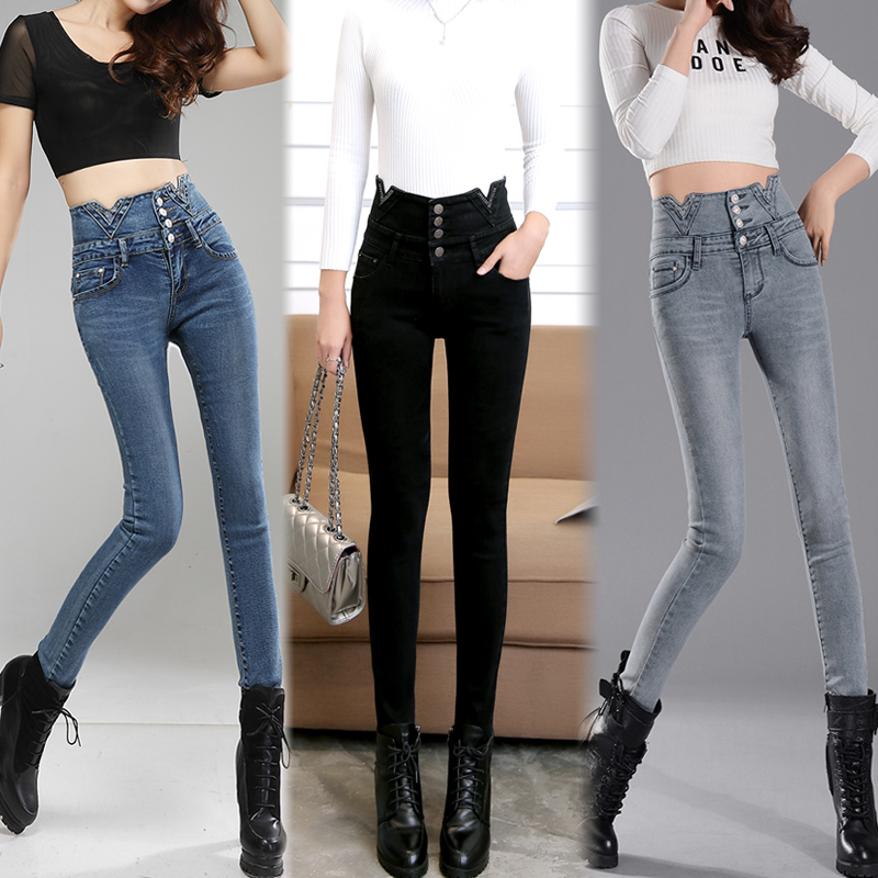 2017 NEW Spring new ladies elastic high waist jeans female black tight feet small spring tide 2017 new spring