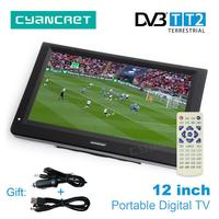 LEADSTAR 12 inch HD Portable TV DVB T2 Digital and Analog mini small Car Television Support USB SD Card Remote control MP4 MP3