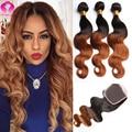 Mel Loira Rosa Produtos Para O Cabelo Com Encerramento Peruano Virgem 8A Onda Do Corpo Do cabelo 4 Bundles Com Fechamento Ombre Cabelo Com fechamento