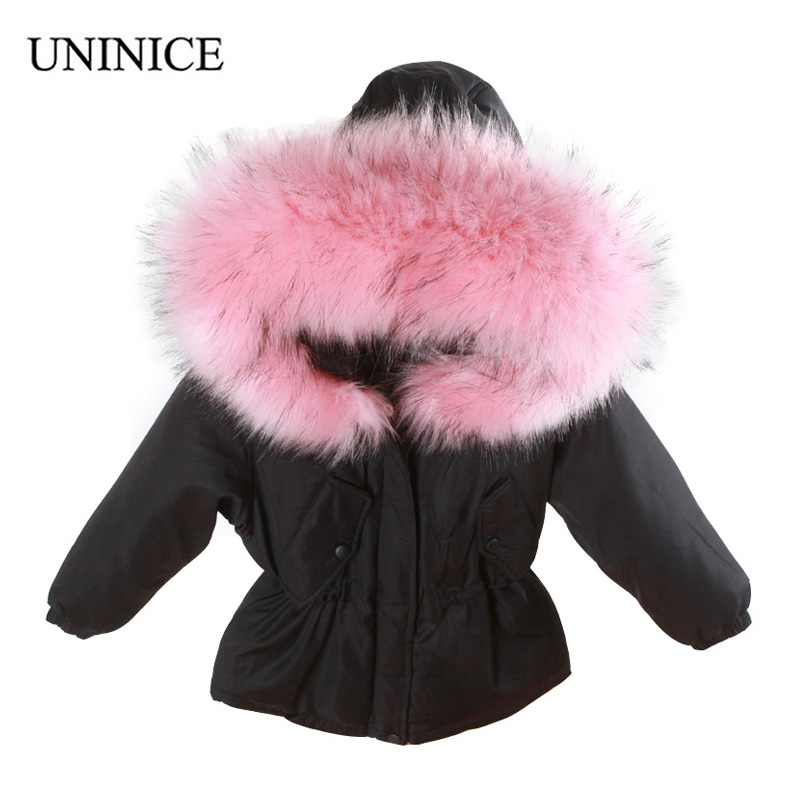 UNINICE 2017 Winter Children Duck Down Jacket For Girls Boys Kids Warm Faux Fur Collar Hooded Coat Parka Winter Thick Jackets fashion girls winter white duck down jackets and coats children faux fur hooded long coat kids girl thick warm jacket 2017