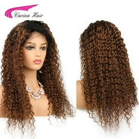 Carina 130% Density Ombre Color Lace Front Wigs with Baby Hair Brazilian Kinky Curly Wigs Pre plucked Hairline Remy Human Hair