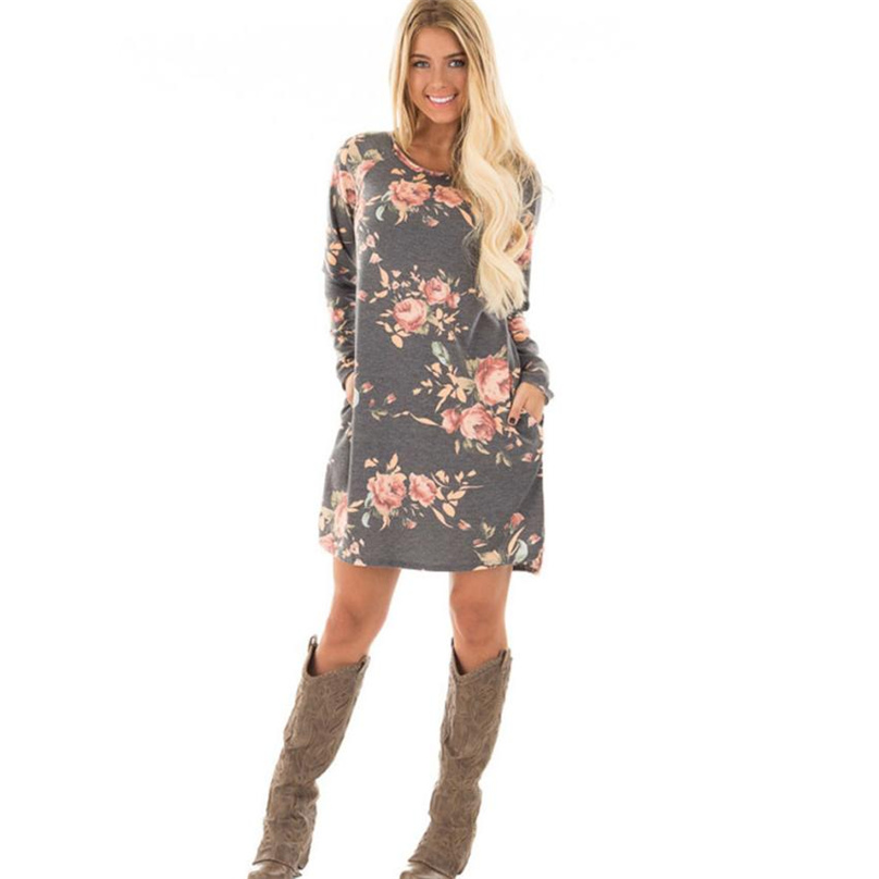 Autumn <font><b>Dress</b></font> Women Gray Color Block Tight Fitted <font><b>Dresses</b></font> 2019 <font><b>Ladies</b></font> <font><b>Sexy</b></font> Flower Print <font><b>Dress</b></font> Long Sleeve Vestidos LF#<font><b>0</b></font> image