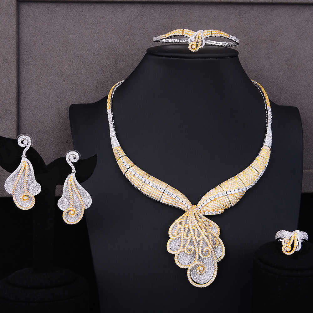 GODKI Super Luxury Flower Blossom Tassels Full Micro Cubic Zirconia Women Wedding Dress Choker Necklace Earring Jewelry Set
