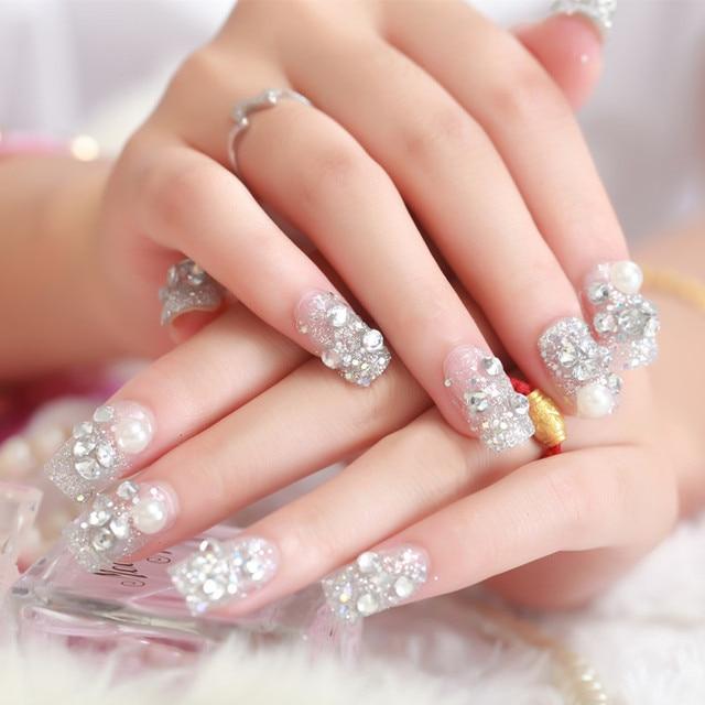 24pcs/lot False Nail For Finger Korean Cute Nail Tips Acrylic False Nail Silver Diamond Bead Full Nail Tips Free Glue Manicure