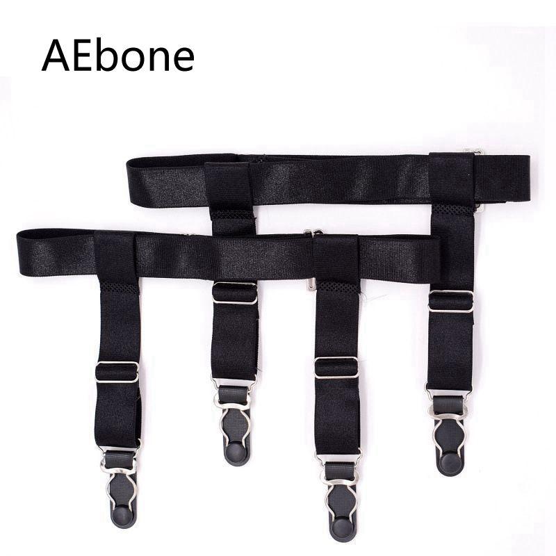AEbone Sock Suspenders For Men Two Clip Socks Garter Black Elastic Suspensorio Sus01