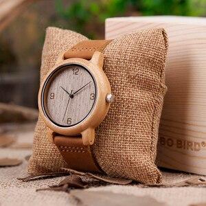 Image 5 - ボボ鳥ミニマリストの木腕時計メンズギフト腕時計女性レザーストラップ腕時計レロジオ masculino ドロップ無料